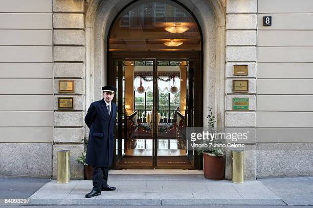 An exterior view of the entrance of the Four Seasons Hotel Milan on December 19, 2008 in Milan, Italy. David and Victoria Beckham are expected to...