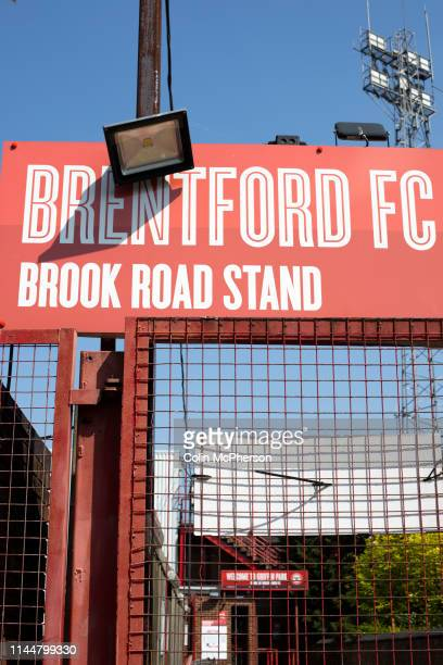 An exterior view of the entrance to the Brook Road stand pictured before Brentford hosted Leeds United in an EFL Championship match at Griffin Park...