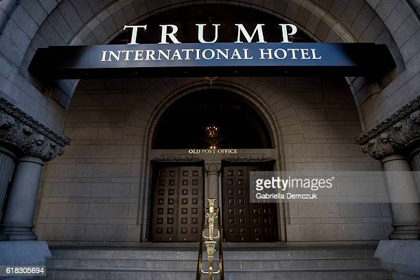 An exterior view of the entrance to the new Trump International Hotel at the old post office on October 26 2016 in Washington DC Republican...
