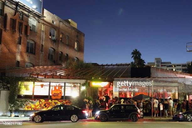 An exterior view of The Flamin Hot Spot Cheetos new limitedtime restaurant with a menu inspired by chef Roy Choi at Madera Kitchen on September 19...