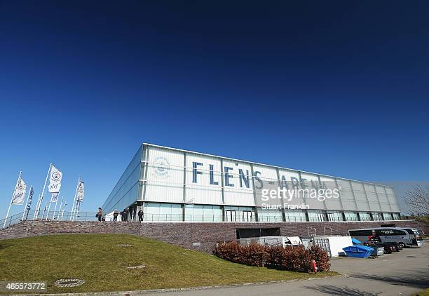 An exterior view of the Flens Arena prior to the Bundesliga handball game between SG FlensburgHandewitt and SG BBM Bietigheim at the Flens Arenaon...
