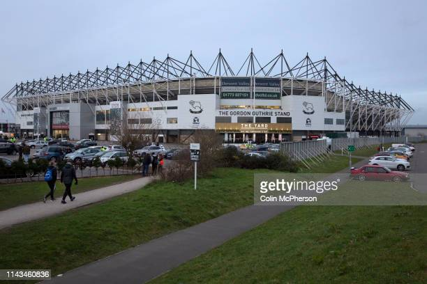 An exterior view of the ground before Derby County played Stoke City in an EFL Championship match at Pride Park Stadium Opened in 1997 it is the...