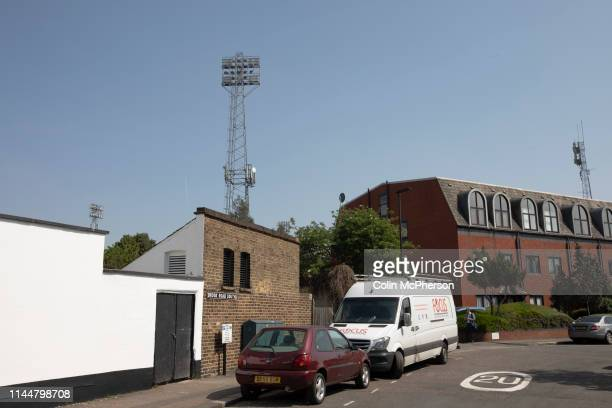 An exterior view of the ground from Brook Road pictured before Brentford hosted Leeds United in an EFL Championship match at Griffin Park. Formed in...