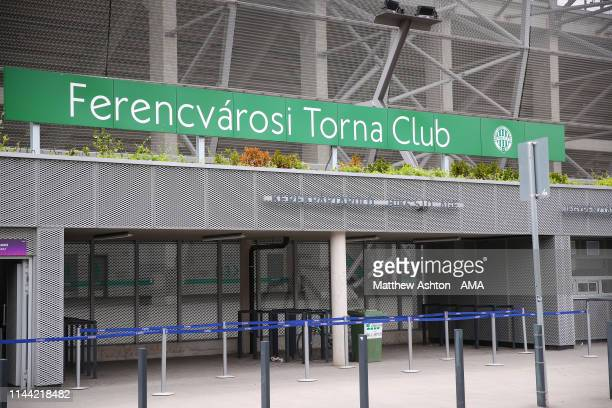 An exterior view of the Groupama Arena in Budapest home of Ferencvarosi TC decorated for the UEFA Women's Champions League Final at Groupama Arena on...