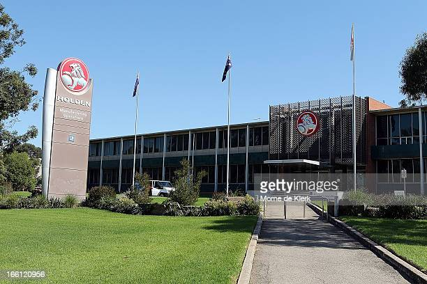 An exterior view of the Holden manufacturing plant at Elizabeth shows the Holden branding on April 9 2013 in Adelaide Australia Holden announced...