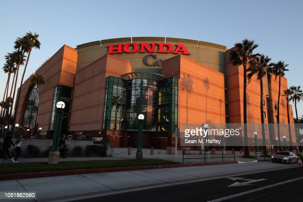 An exterior view of the Honda Center prior to a game between the Anaheim Ducks and the Arizona Coyotes at Honda Center on October 10 2018 in Anaheim...