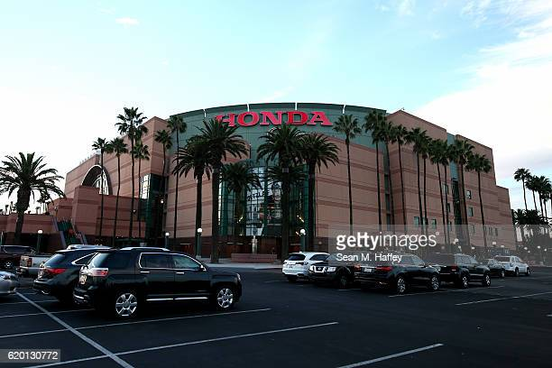 An exterior view of the Honda Center prior to a game between the Anaheim Ducks and the Nashville Predators on October 26 2016 in Anaheim California