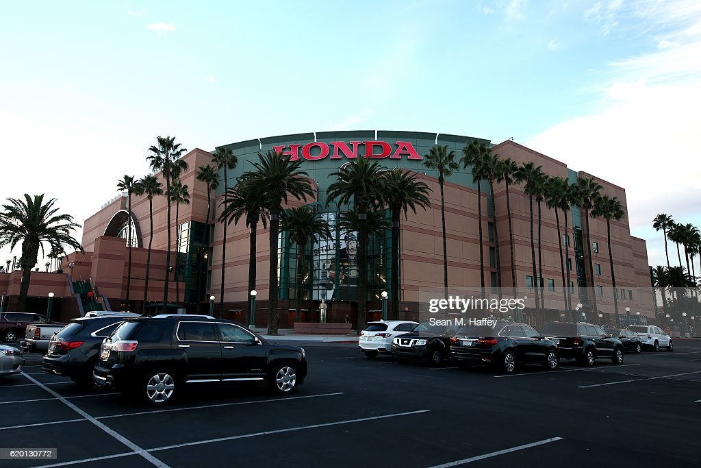An Exterior View Of The Honda Center Prior To A Game Between The Anaheim  Ducks And