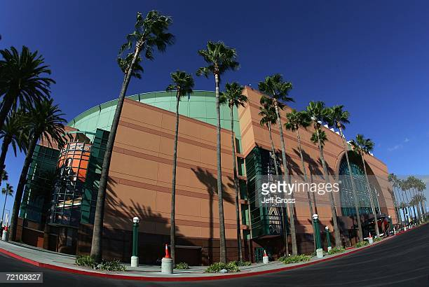 An exterior view of the Honda Center prior to the start of the game between the Los Angeles Kings and the Anaheim Ducks on October 6 2006 in Anaheim...