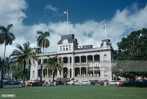 An exterior view of the Iolani Palace, Downtown Honolulu, Hawaii, USA, circa 1960.
