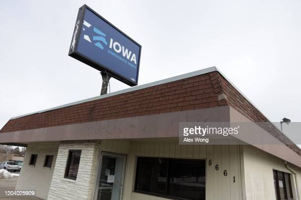 An exterior view of the Iowa Democratic Party headquarters is seen February 4, 2020 in Des Moines, Iowa. The announcement of the results in the Iowa...