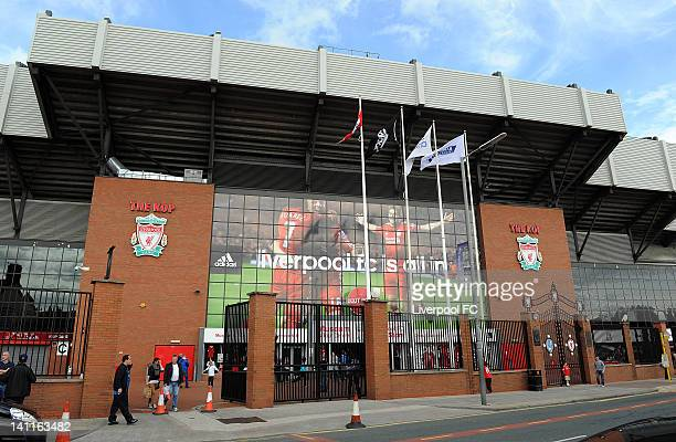 An exterior view of the Kop stand at Anfield on Walton Breck Road on September 23 2011 in Liverpool England