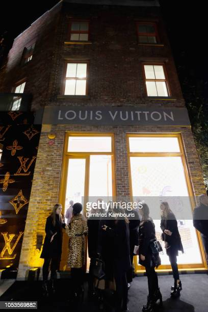 An exterior view of the Louis Vuitton store at Louis Vuitton X Grace Coddington Event on October 25 2018 in New York City