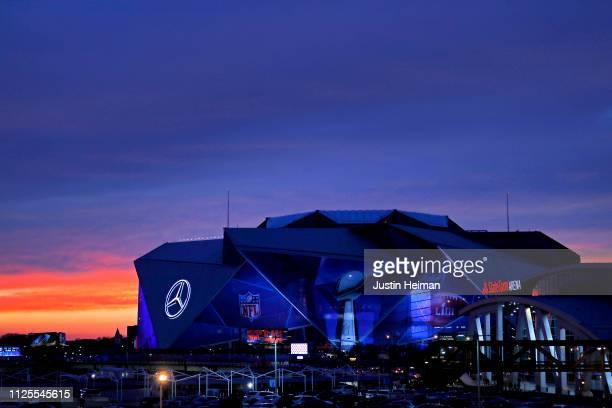 An exterior view of the MercedesBenz Stadium is seen on January 27 2019 in Atlanta Georgia