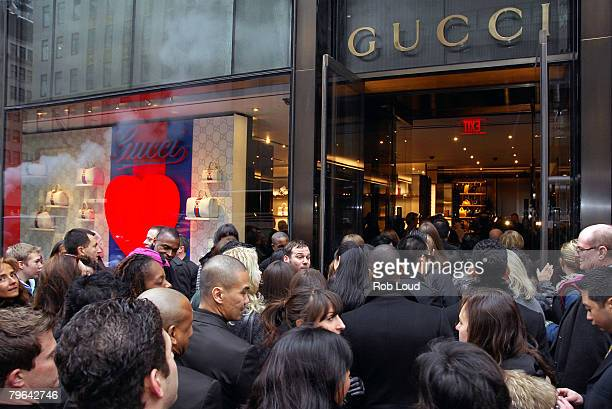 An exterior view of the new Gucci flagship store is seen during a ribbon cutting ceremony at Trump Tower on February 8 2008 in New York City
