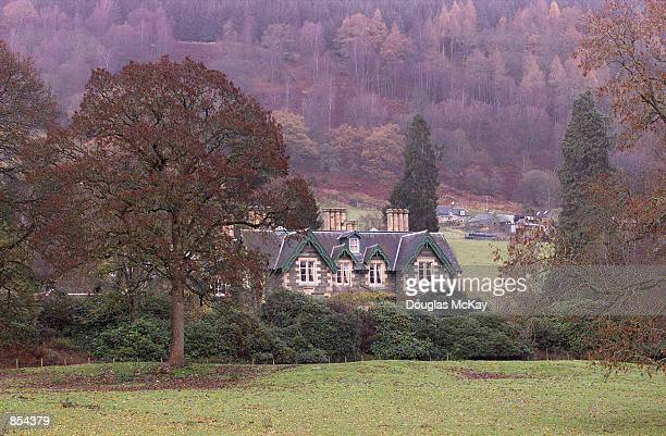 An exterior view of the new home of Harry Potter creator JK Rowling November 29, 2001 near Aberfeldy, Perthshire, Scotland. Killiechassie House was...