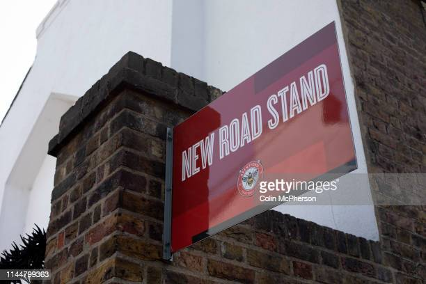 An exterior view of the New Road stand entrance pictured before Brentford hosted Leeds United in an EFL Championship match at Griffin Park. Formed in...