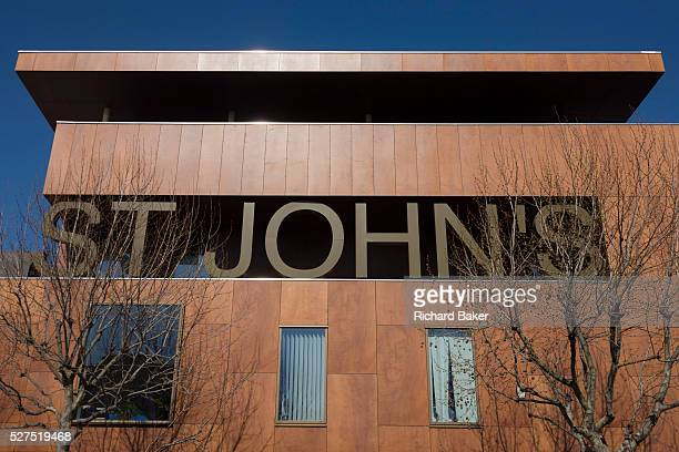 An exterior view of the NHS St John's therapy centre on St John's Hill Battersea The centre's large letters are seen in a bold style across the top...
