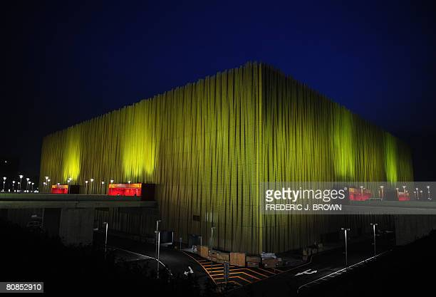 An exterior view of the Olympic Basketball Gymnasium on April 24, 2008 in Beijing, lit up in the evenings during a women's invitational test event at...