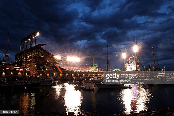 An exterior view of the outside of ATT Park as boaters and fans congregate around McCovey Cove during Game Two of the 2010 MLB World Series between...