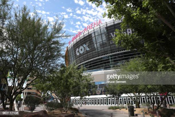 An exterior view of the outside of the arena prior to Media Day for the 2018 NHL Stanley Cup Final at TMobile Arena on May 27 2018 in Las Vegas Nevada