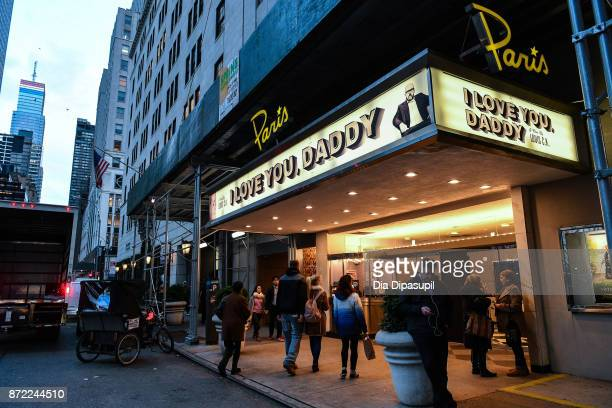 An exterior view of The Paris Theatre with a marquee advertising the Louis CK movie 'I Love You Daddy' on November 9 2017 in New York City The...