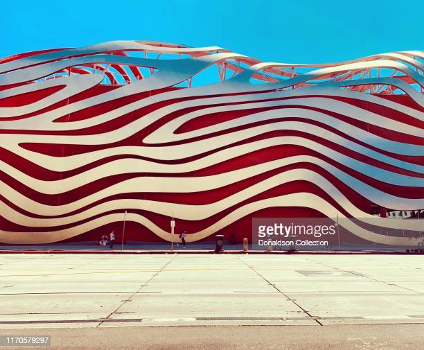 An exterior view of the Petersen Automotive Museum designed by Kohn Pedersen Fox Associates on August 23, 2019 in Los Angeles, California.