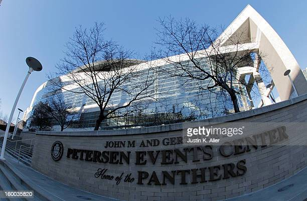 An exterior view of the Petersen Events Center before the game between the Connecticut Huskies and the Pittsburgh Panthers at Petersen Events Center...