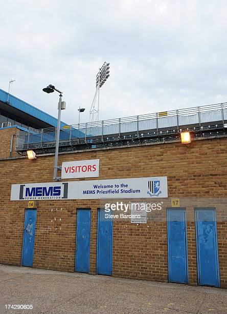 An Exterior view of the Priestfield Stadium before the pre season friendly match between Gillingham and Crystal Palace at Priestfield Stadium on July...