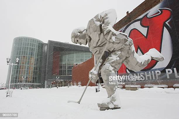 An exterior view of the Prudential Center during a blizzard prior to the game between the Philadelphia Flyers and the New Jersey Devils on February...
