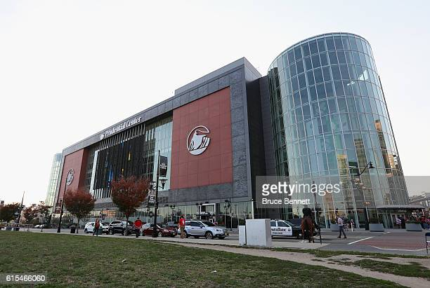 An exterior view of the Prudential Center prior to the game between the New Jersey Devils and the Anaheim Ducks on October 18 2016 in Newark New...