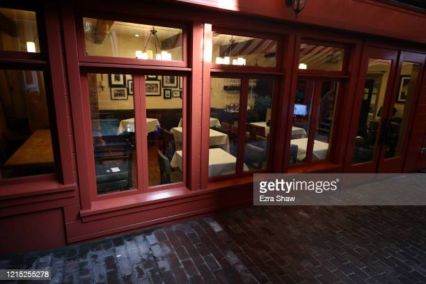 An exterior view of the restaurant Sociale on March 27 2020 in San Francisco California Sociale is working with a reduced staff and are offering...