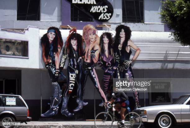 An exterior view of the Roxy Theatre wth giant billboard of Ana Black that reads Ana Black kicks ass in July 1992 n Los Angeles, California.