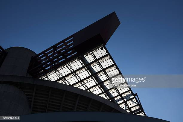 An exterior view of the Stadio Giuseppe Meazza also known as the San Siro before Internationale took on Cagliari in an Italian Serie A fixture The...