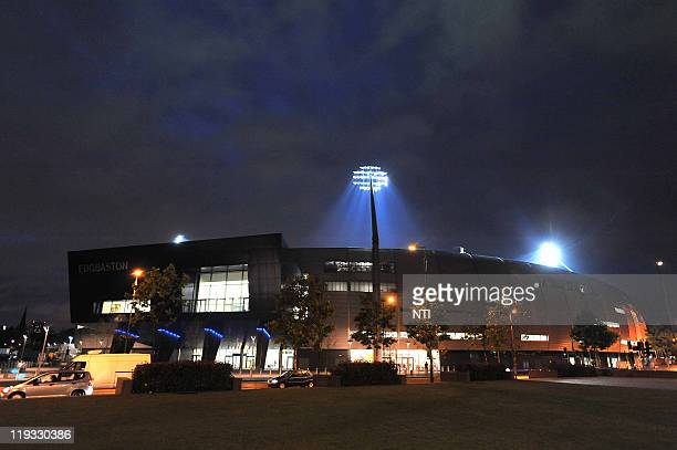 An exterior view of the stadium as floodlights illuminate play during the Friends Life T20 match between Warwickshire CC and Leicestershire CC at...