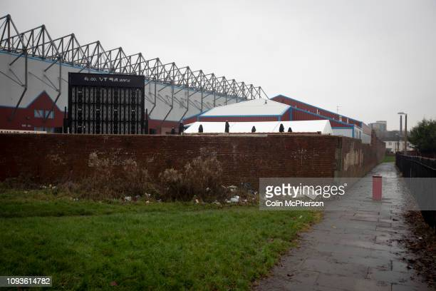 An exterior view of the stadium before Burnley hosted Everton in an English Premier League fixture at Turf Moor. Founded in 1882, Burnley played...