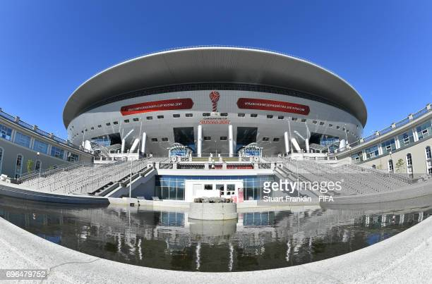 An exterior view of the stadium prior to the opening press conference at the Zenit Arena on June 16 2017 in Saint Petersburg Russia