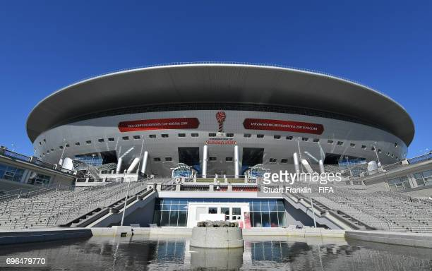 An exterior view of the stadium prior to the opening press conference at the Zenit Arena on June 16, 2017 in Saint Petersburg, Russia.