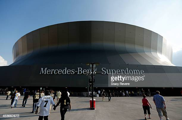 An exterior view of the Superdome before the start of the first preseason game between the New Orleans Saints and the Tennessee Titans at the...