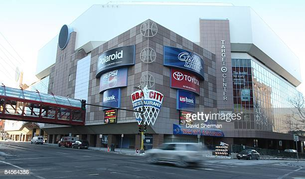 An exterior view of the Target Center before the game between the Los Angeles Lakers and the Minnesota Timberwolves on January 30, 2009 in...