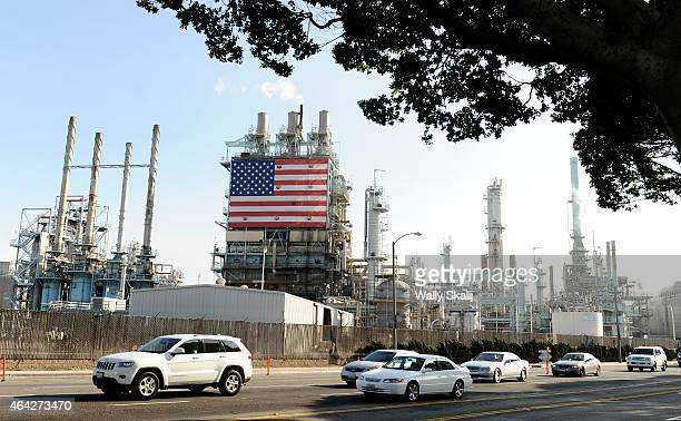 An exterior view of the Tesoro petroleum refinery February 19 2015 in Carson California United Steelworkers across the country have been striking...