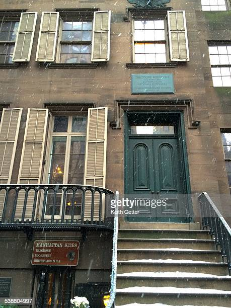 An exterior view of the Theodore Roosevelt Birthplace National Historic Site in Manhattan NYC on a snowy day This reconstructed brownstone is a...