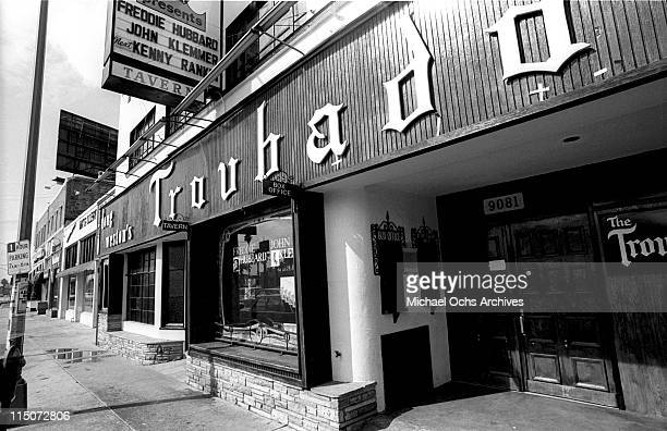 An exterior view of the Troubadour nightclub circa 1971 in Los Angeles (now West Hollywood.