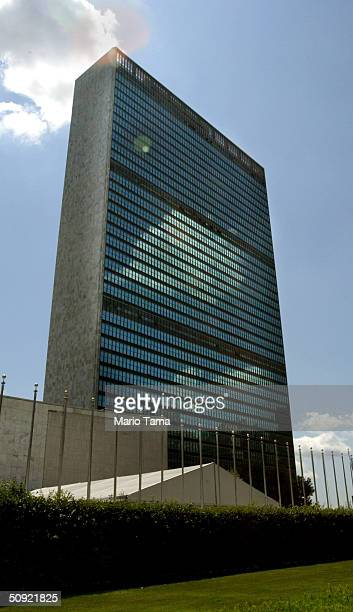 An exterior view of the United Nations Headquarters is shown June 3 2004 in New York City The UN Security Council is working on a new resolution...