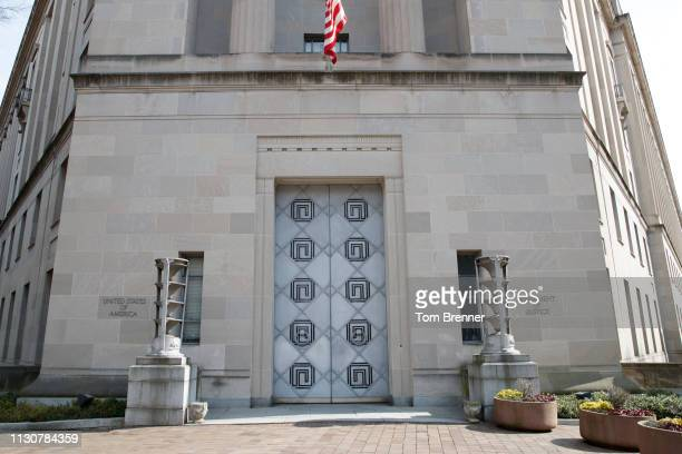 An exterior view of the US Department of Justice Building on March 15 2019 along Constitution Avenue in Washington DC The House voted overwhelmingly...