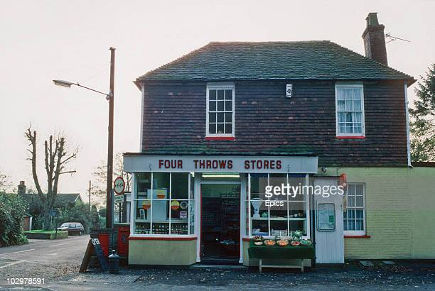 An exterior view of the village stores at Four Throws Kent November 1984
