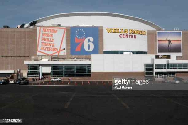 An exterior view of the Wells Fargo Center ahead of the NBA Christmas Day game between the Philadelphia 76ers against the Milwaukee Bucks on December...
