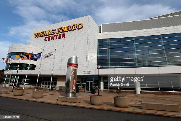 An exterior view of the Wells Fargo Center before the Pittsburgh Penguins play the Philadelphia Flyers on October 29, 2016 in Philadelphia,...