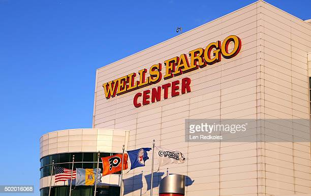 An exterior view of the Wells Fargo Center prior to a NHL game between the Philadelphia Flyers and the Carolina Hurricanes on December 15 2015 in...
