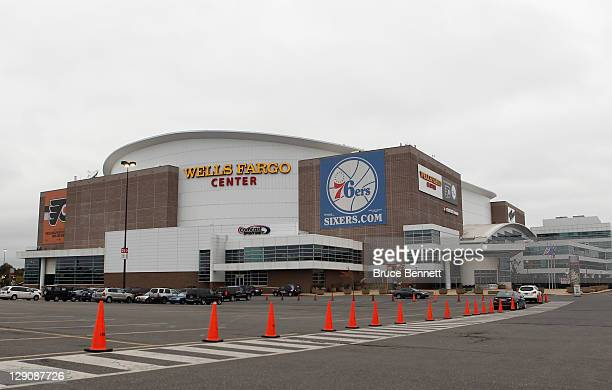 An exterior view of the Wells Fargo Center prior to the game between the Vancouver Canucks and the Philadelphia Flyers on October 12 2011 in...